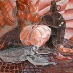 Натюрморт с рыбами I, 60х40см.,,бумага, сангина, соус, уголь, мел